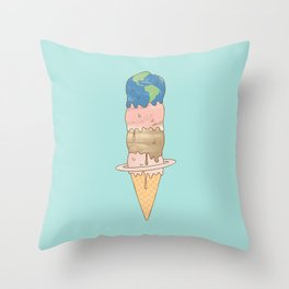 melting planets Throw Pillow