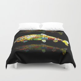 FATHER  LIKES FISH AND BOURBON POP ART Duvet Cover