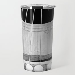 Wooden Acoustic Guitar in Black and White Travel Mug