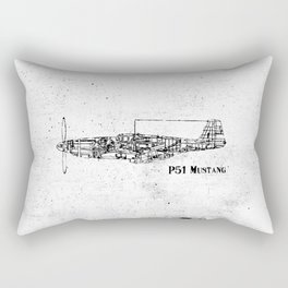 North American P51 Mustang (black) Rectangular Pillow