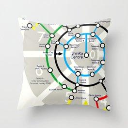 Final Fantasy VII - Midgar Mass Transit System Map Throw Pillow