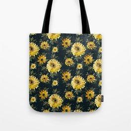 Sunflower Sparkle - black Tote Bag