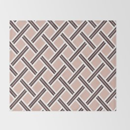 Modern Open Weave Pattern in Neutrals and Plums Throw Blanket
