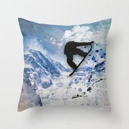 Snowboarder In Flight Throw Pillow