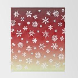Snow Flurries-Red/Cream Ombre Throw Blanket