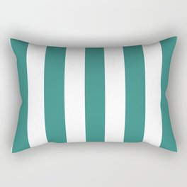 Celadon green - solid color - white vertical lines pattern Rectangular Pillow