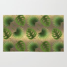 Tropical Leaves Gold Great Gatsby Rug