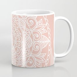 White Mandala on Rose Gold Coffee Mug