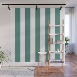 Wintergreen Dream blue - solid color - white vertical lines pattern Wall Mural