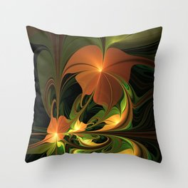 Fantasy Plant, Abstract Fractal Art Throw Pillow