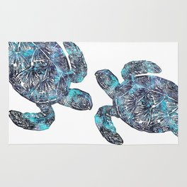 Sea Turtle Blue Watercolor Art Rug