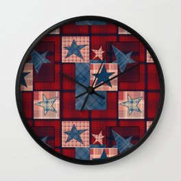 Creative patchwork. Star. The creative pattern. Wall Clock