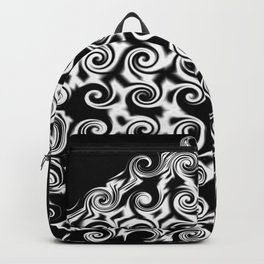 Curlicues Pentagon Black and White Pattern Backpack