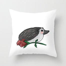 Hedgehog Rose Throw Pillow