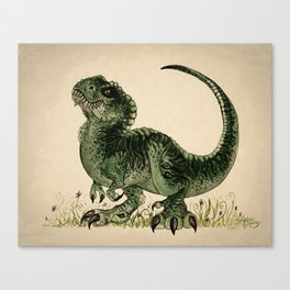 """""""Baby T-Rex"""" by Amber Marine ~ watercolor and ink, (Copyright 2013) Canvas Print"""
