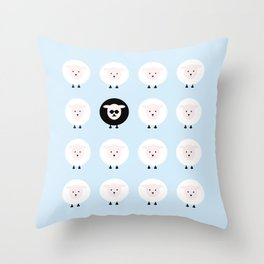 Blue tales of a black sheep Throw Pillow