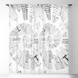 black and white city spiral digital painting Blackout Curtain