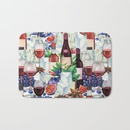 Watercolor wine glasses and bottles decorated with delicious food Bath Mat