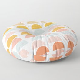 Geometric Half Circles Pattern in Earth Tones Floor Pillow