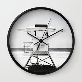 Black and White Beach Photography, Grey Lifeguard Stand, Gray Coastal Nautical Art Wall Clock