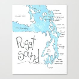 Puget Sound by Seattle Artist Mary Klump Canvas Print