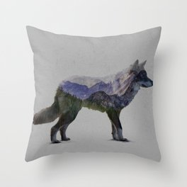 The Rocky Mountain Gray Wolf Throw Pillow