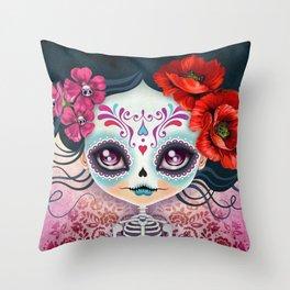 Amelia Calavera - Sugar Skull Throw Pillow