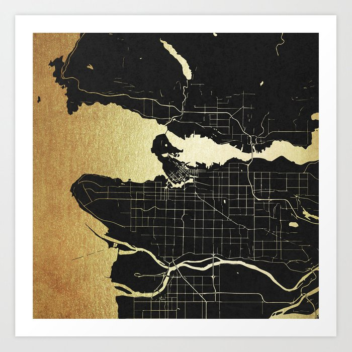 Vancouver canada black and gold map art print by mapmaker society6 gumiabroncs Gallery