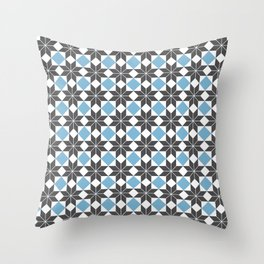8 Point Star Pattern, Dusk Blue, Charcoal Black Throw Pillow
