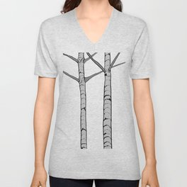 Poplar Tree Illustrated Print Unisex V-Neck