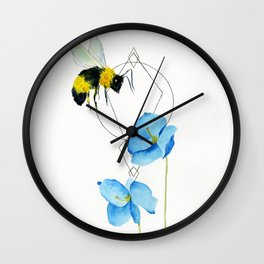 save the bees minimalist geometric watercolor Wall Clock