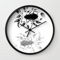bugs Wall Clocks featuring bugs by David Cristobal