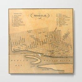 Vintage Map of Mobile Alabama (1840) Metal Print