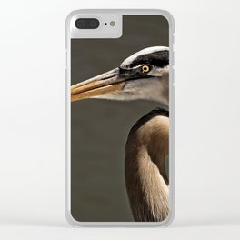 Great Blue Heron Close Up Portrait Clear iPhone Case