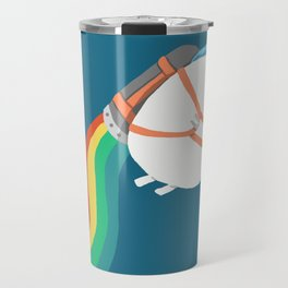 Fat Unicorn on Rainbow Jetpack Travel Mug