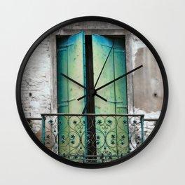 Green And Blue Balcony Doors, Venice Wall Clock