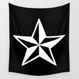 White Tattoo Style Star on Black Wall Tapestry
