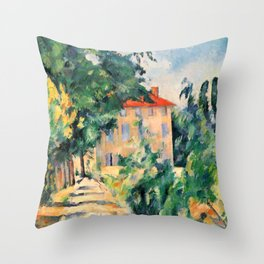 "Paul Cezanne ""House with red roof"", 1890 Throw Pillow"
