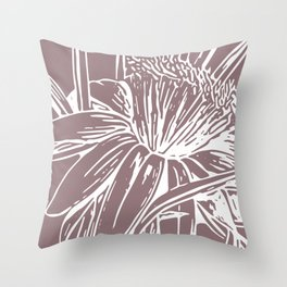 Modern Floral Line Art Drawing in Dusty Plum Throw Pillow