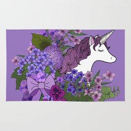 Unicorn in a Purple Garden Rug