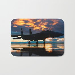 Fighter Jet Airplane at Sunset Military Gifts Bath Mat