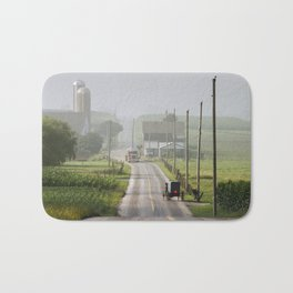 Amish Buggy confronts the Modern World Bath Mat