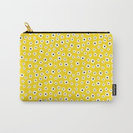 White Yellow Spring Flower Pattern Carry-All Pouch