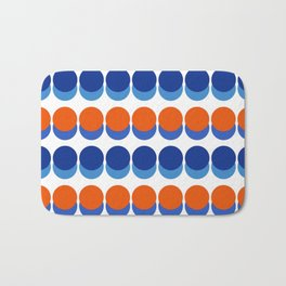 Vibrant Blue and Orange Dots Bath Mat
