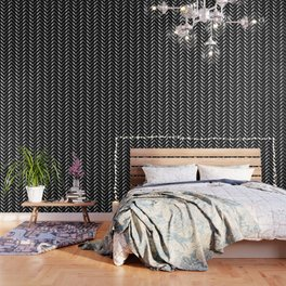 High grade raw material stainless steel and black zigzag stripes Wallpaper