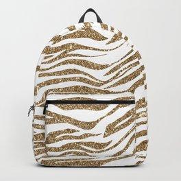 White & Glitter Animal Print Pattern Backpack