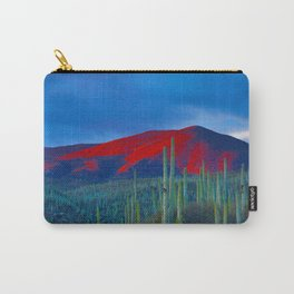 Green Cactus Field In The Desert With Red Mountains Blue Grey Sky Landscape Photography Carry-All Pouch