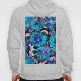 Turquoise Purple Abstract Flowers Hoody