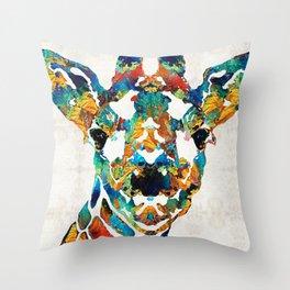 Colorful Giraffe Art - Curious - By Sharon Cummings Throw Pillow