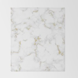 Fine Gold Marble Natural Stone Gold Metallic Veining White Quartz Throw Blanket